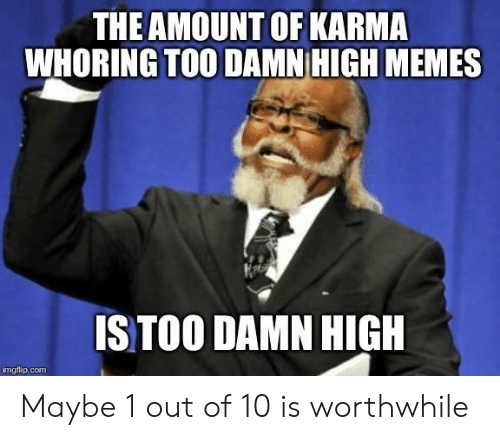 high memes: THE AMOUNT OF KARMA  WHORING TOO DAMN HIGH MEMES  S TOO DAMN HIGH  imgflip.com Maybe 1 out of 10 is worthwhile