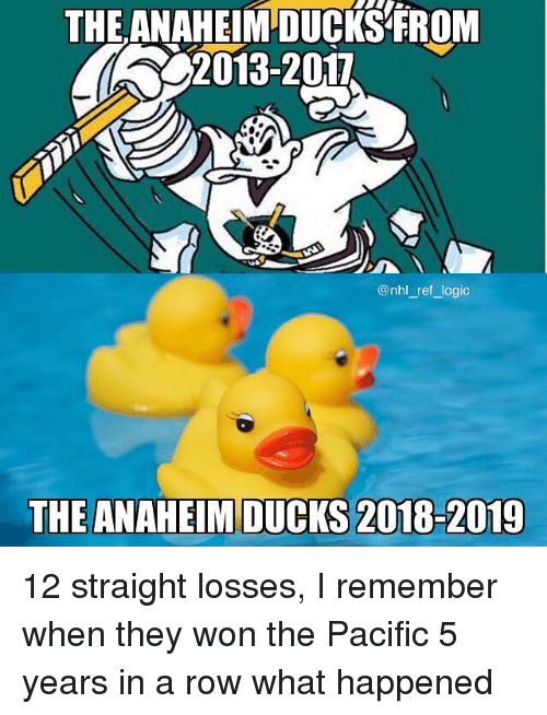 National Hockey League (NHL): THE ANAHEIM DUCKS FROM  2013-2017  @nhl_ref logic  THE ANAHEIM DUCKS 2018-2019 12 straight losses, I remember when they won the Pacific 5 years in a row what happened