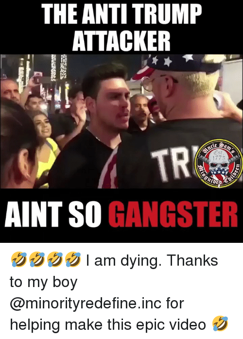 Memes, Trump, and Video: THE ANTI TRUMP  ATTACKER  TR  Est  1775  2D  AINT SO GANGSTER 🤣🤣🤣🤣 I am dying. Thanks to my boy @minorityredefine.inc for helping make this epic video 🤣