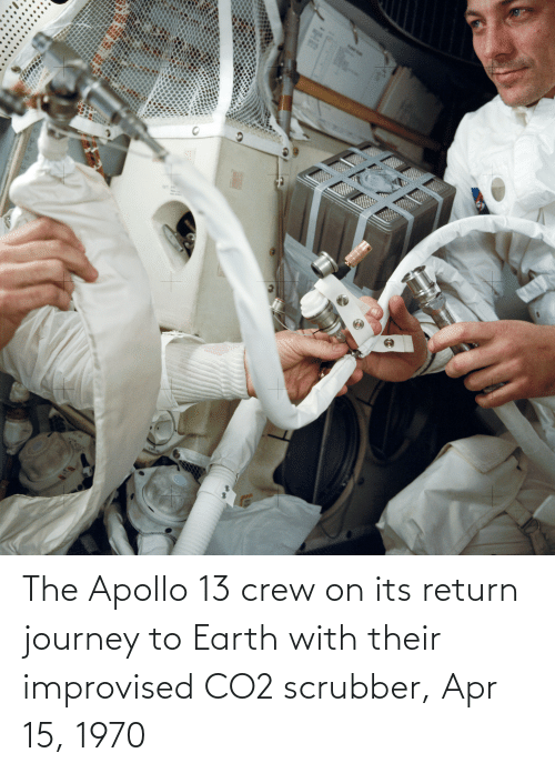 apr: The Apollo 13 crew on its return journey to Earth with their improvised CO2 scrubber, Apr 15, 1970