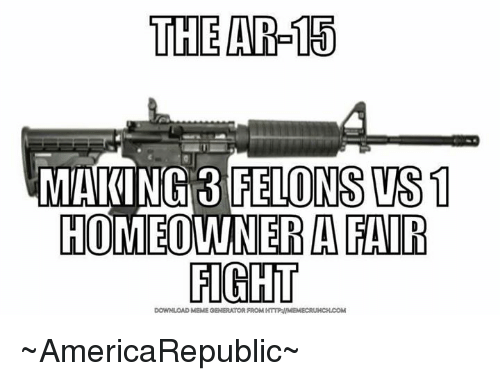 Meme, Memes, and Fight: THE AR-15  MAKING 3 FELONS WS1  HOMEOWNER A FAIR  FIGHT  DOWNLOAD MEME GENERATOR FROM HTTPAIIMEMECRUNCHUCOM ~AmericaRepublic~