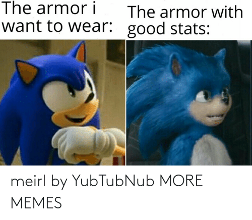 Stats: The armor i  The armor with  want to wear: good stats: meirl by YubTubNub MORE MEMES