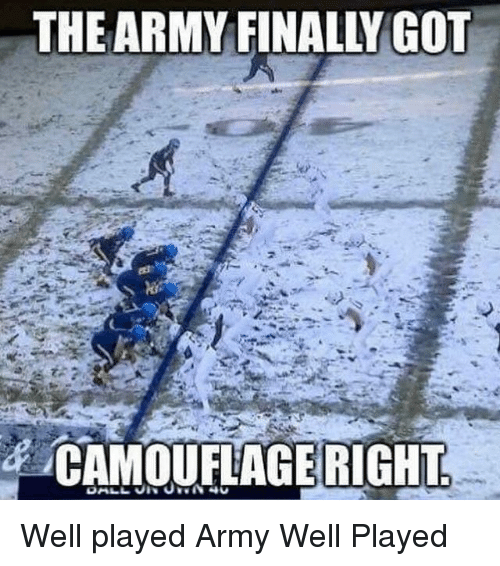 Memes, Army, and 🤖: THE ARMY FINALLY GOT  CAMOUFAGE RIGHT Well played Army Well Played