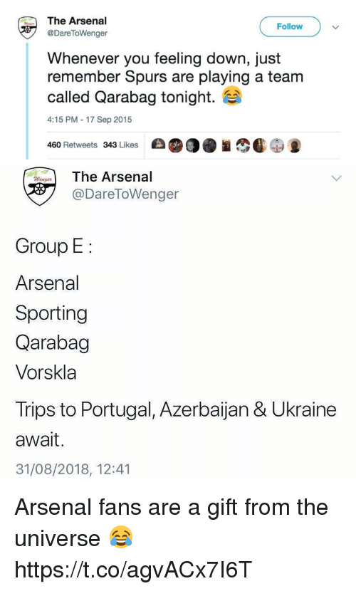 sporting: The Arsenal  @DareToWenger  Follow  Whenever you feeling down, just  remember Spurs are playing a team  called Qarabag tonight.  4:15 PM-17 Sep 2015  460 Retweets 343 Likes   The Arsenal  @DareToWenger  Group E:  Arsenal  Sporting  Qarabag  Vorskla  Trips to Portugal, Azerbaijan & Ukraine  await.  31/08/2018, 12:41 Arsenal fans are a gift from the universe 😂 https://t.co/agvACx7I6T
