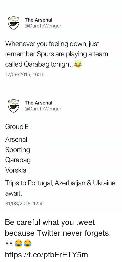 sporting: The Arsenal  @DareToWenger  Whenever you feeling down, just  remember Spurs are playing a team  called Qarabag tonight.  17/09/2015, 16:15   eThe Arsenal  @DareToWenger  Group E  Arsenal  Sporting  Qarabag  Vorskla  Trips to Portugal, Azerbaijan & Ukraine  await.  31/08/2018, 12:41 Be careful what you tweet because Twitter never forgets. 👀😂😂 https://t.co/pfbFrETY5m