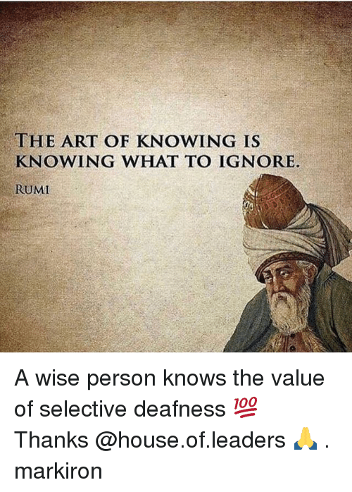 Memes, House, and Rumi: THE ART OF KNOWING IS  KNOWING WHAT TO IGNORE.  RUMI A wise person knows the value of selective deafness 💯 Thanks @house.of.leaders 🙏 . markiron