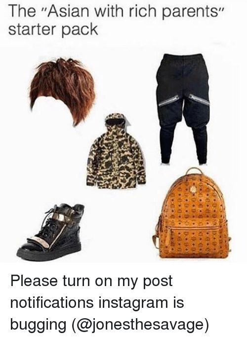 "Asian, Memes, and Starter Packs: The ""Asian with rich parents""  starter pack Please turn on my post notifications instagram is bugging (@jonesthesavage)"
