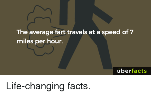 Uber Facts: The average fart travels at a speed of 7  miles per hour.  uber  facts Life-changing facts.