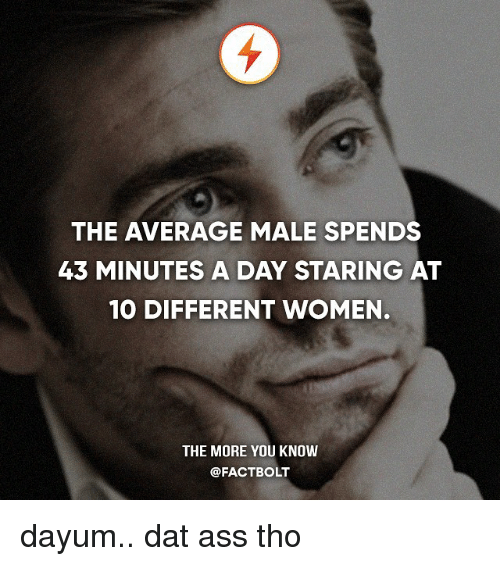 Ass, Dat Ass, and Memes: THE AVERAGE MALE SPENDS  43 MINUTES A DAY STARING AT  10 DIFFERENT WOMEN.  THE MORE YOU KNOW  @FACTBOLT dayum.. dat ass tho