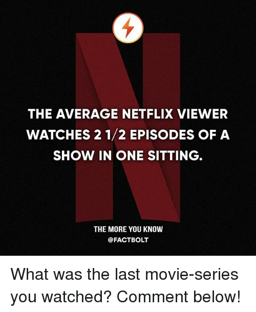 Memes, Netflix, and The More You Know: THE AVERAGE NETFLIX VIEWER  WATCHES 2 1/2 EPISODES OF A  SHOW IN ONE SITTING  THE MORE YOU KNOW  @FACTBOLT What was the last movie-series you watched? Comment below!