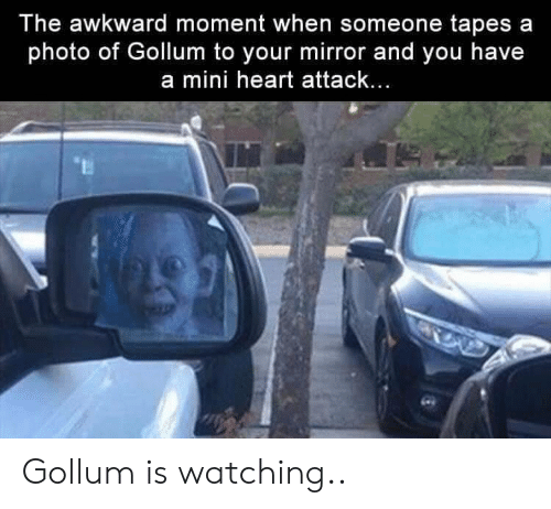 Mini Heart Attack: The awkward moment when someone tapes a  photo of Gollum to your mirror and you have  a mini heart attack... Gollum is watching..