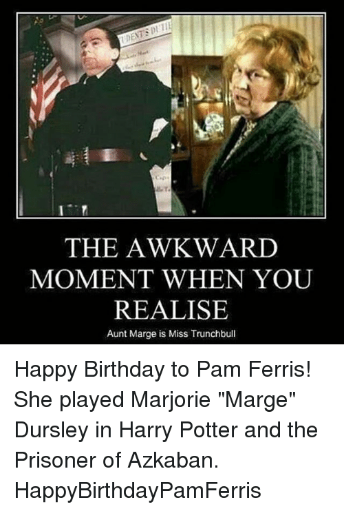 "Birthday, Harry Potter, and Memes: THE AWKWARD  MOMENT WHEN YOU  REALISE  Aunt Marge is Miss Trunchbull Happy Birthday to Pam Ferris! She played Marjorie ""Marge"" Dursley in Harry Potter and the Prisoner of Azkaban. HappyBirthdayPamFerris"