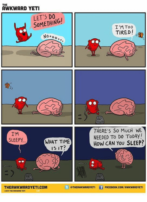 Awkward Yeti, Facebook, and Memes: THE  AWKWARD YETI  LET'S DO,  SOMETHING!  I'M Too  TIRED!  NO oo  THERE'S So MUCH WE  NEEDED TO DO ToDAY!  How CAN You SLEEP?  I'M  SLEEPY  WHAT TIME  IS IT?  THEAWKWARDYETI.COM  OTHEAWKWARDYETI  FACEBOOK.COM/AWKWARDYETI