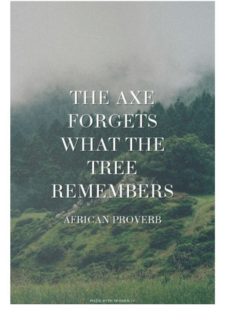 Memes, Tree, and 🤖: THE AXE  FORGETS  WHAT THE  TREE  REMEMBERS  AFRICAN PROVERB  MADE WITH SPOKEN LY
