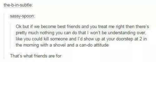 that's what friends are for: the-b-in-subtle  Sassy Spoon  Ok but if we become best friends and you treat me right then there's  pretty much nothing you can do that I won't be understanding over,  like you could kill someone and I'd show up at your doorstep at 2 in  the morning with a shovel and a ca  attitude  That's what friends are for