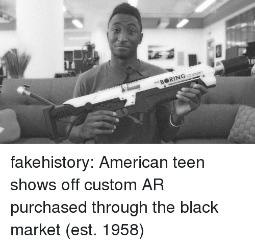 Tumblr, American, and Black: THE B RING coMPANY fakehistory:  American teen shows off custom AR purchased through the black market (est. 1958)