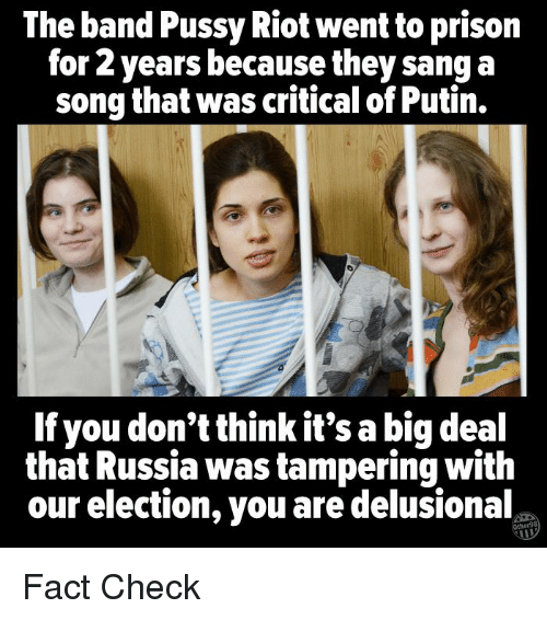 Fact Checking: The band Pussy Riot went to prison  for 2 years because they sang a  song that was critical of Putin.  If you don't thinkit's a big deal  that Russia was tampering with  our election, you aredelusional Fact Check