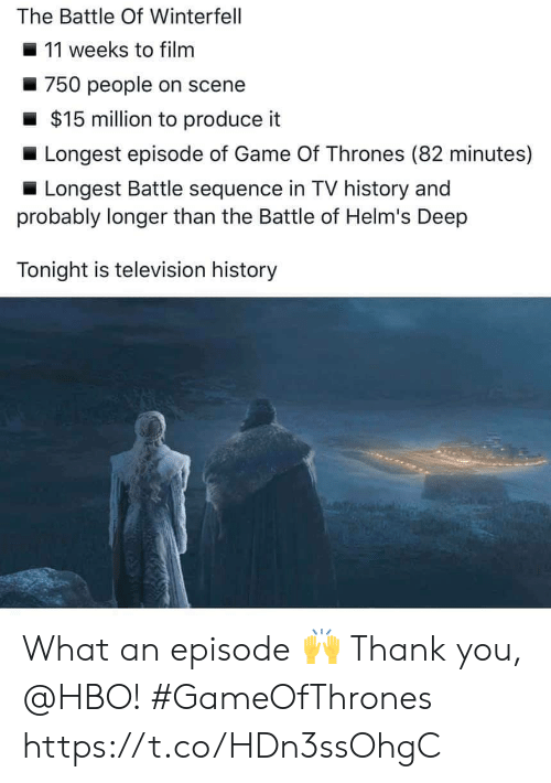 Television: The Battle Of Winterfell  11 weeks to filnm  750 people on scene  $15 million to produce it  Longest episode of Game Of Thrones (82 minutes)  Longest Battle sequence in TV history and  probably longer than the Battle of Helm's Deep  Tonight is television history What an episode 🙌 Thank you, @HBO! #GameOfThrones https://t.co/HDn3ssOhgC