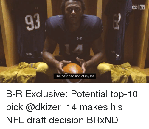 NFL Draft, Sports, and Decisions: The best decision of my life B-R Exclusive: Potential top-10 pick @dkizer_14 makes his NFL draft decision BRxND