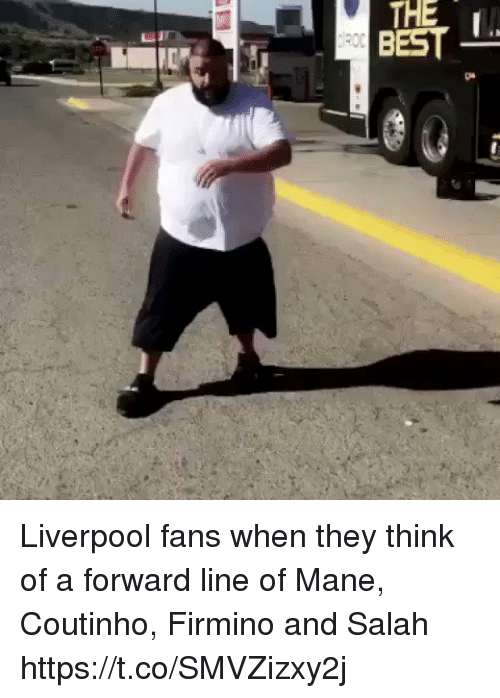 Soccer, Liverpool F.C., and Best: THE  BEST Liverpool fans when they think of a forward line of Mane, Coutinho, Firmino and Salah https://t.co/SMVZizxy2j