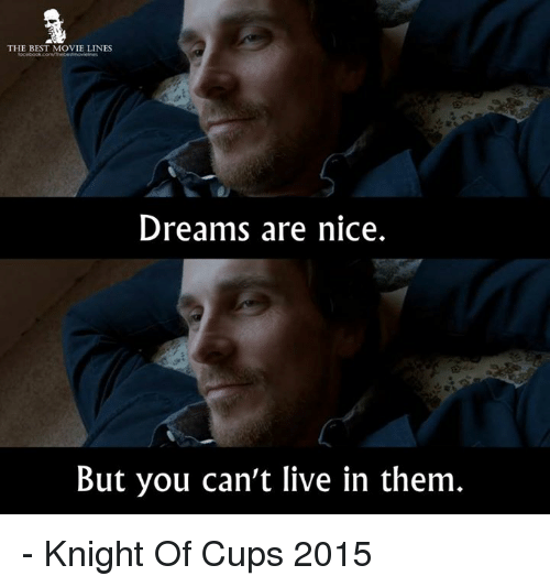 movie line: THE BEST MOVIE LINES  Dreams are nice.  But you can't live in them - Knight Of Cups 2015