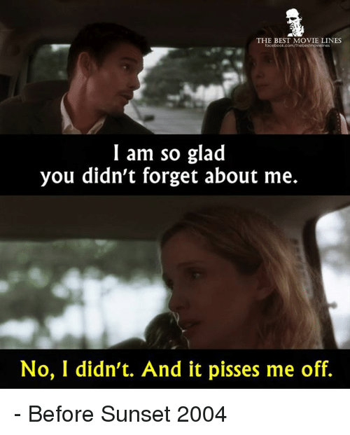 movie line: THE BEST MOVIE LINES  facebook comNThebestrnovelines  I am so glad  you didn't forget about me.  No, I didn't. And it pisses me off. - Before Sunset 2004