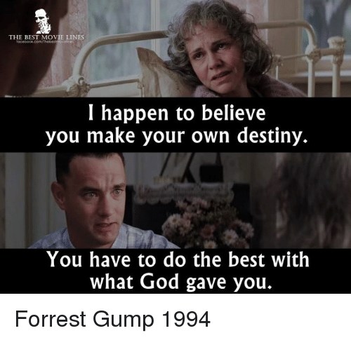 movie line: THE BEST MOVIE LINES  I happen to believe  you make your own destiny.  You have to do the best with  what God gave you. Forrest Gump 1994