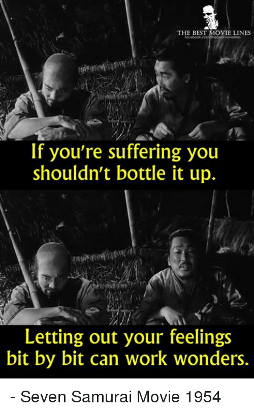 Memes, Samurai, and Work: THE BEST MOVIE LINES  If you're suffering you  shouldn't bottle it up.  Letting out your feelings  bit by bit can work wonders. - Seven Samurai Movie 1954