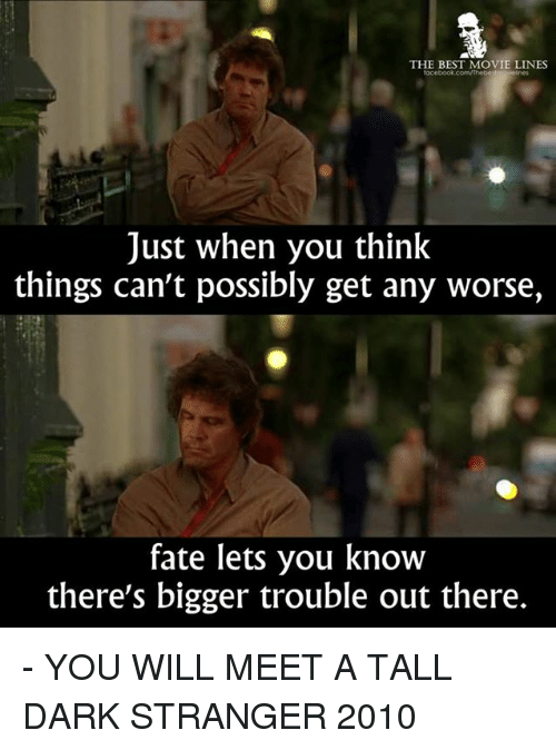 movie line: THE BEST MOVIE LINES  Just when you think  things can't possibly get any worse,  fate lets you know  there's bigger trouble out there. - YOU WILL MEET A TALL DARK STRANGER 2010