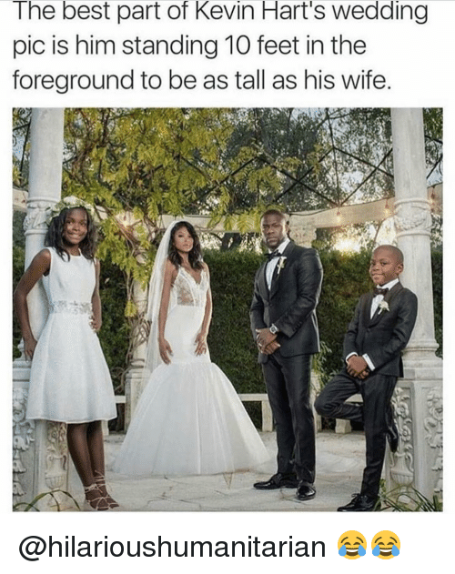 Funny, Kevin Hart, and Best: The best part of Kevin Hart's Wedding  pic is him standing 10 feet in the  foreground to be as tall as his wife. @hilarioushumanitarian 😂😂