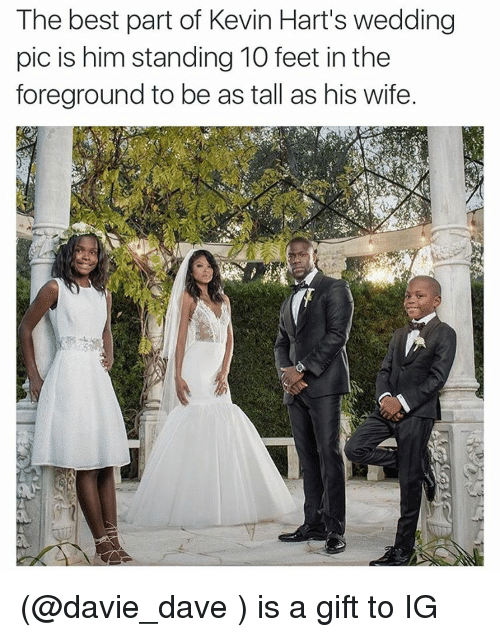 Funny, Kevin Hart, and Meme: The best part of Kevin Hart's wedding  pic is him standing 10 feet in the  foreground to be as tall as his wife. (@davie_dave ) is a gift to IG