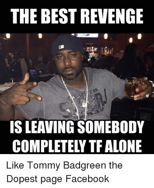 Facebook, Memes, and Revenge: THE BEST REVENGE  IS LEAVING SOMEBODY  COMPLETELY TF ALONE Like Tommy Badgreen the Dopest page Facebook
