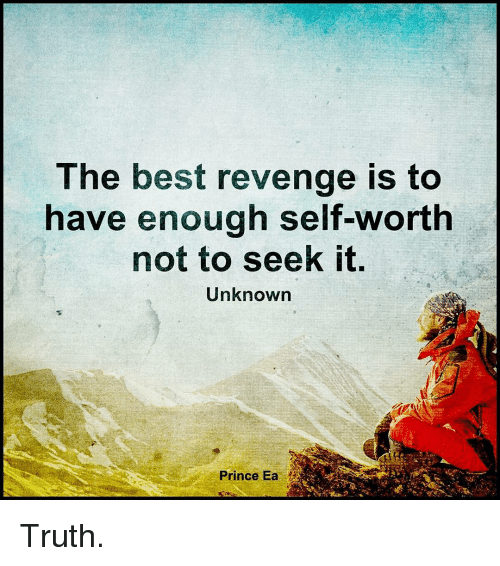 Memes, 🤖, and  Revengeance: The best revenge is to  have enough self-worth  not to seek it.  Unknown  Prince Ea Truth.