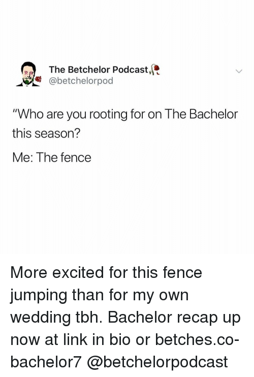 """Bachelor: The Betchelor Podcast,  @betchelorpod  """"Who are you rooting for on The Bachelor  this season?  Me: The fence More excited for this fence jumping than for my own wedding tbh. Bachelor recap up now at link in bio or betches.co-bachelor7 @betchelorpodcast"""