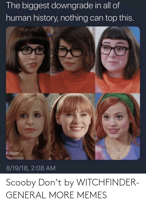 scooby: The biggest downgrade in all of  human history, nothing can top this.  Pipoca  Oremiada  8/19/18, 2:08 AM Scooby Don't by WITCHFlNDER-GENERAL MORE MEMES