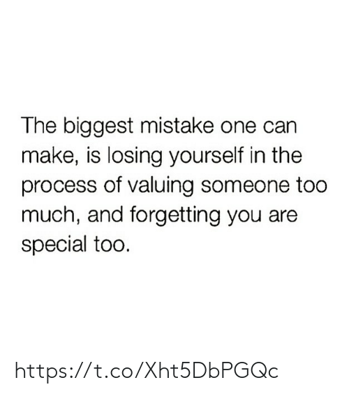 you are special: The biggest mistake one can  make, is losing yourself in the  process of valuing someone too  much, and forgetting you are  special too. https://t.co/Xht5DbPGQc