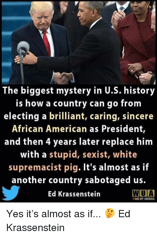 white supremacist: The biggest mystery in U.S. history  is how a country can go from  electing a brilliant, caring, sincere  African American as President,  and then 4 years later replace him  with a stupid, sexist, white  supremacist pig. It's almost as if  another country sabotaged us.  Ed Krassenstein  WIUA  WAKE UP AMERICA Yes it's almost as if... 🤔  Ed Krassenstein