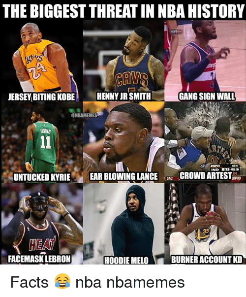 Gang Sign: THE BIGGEST THREAT IN NBA HISTORY  JERSEY BITING KOBE  HENNY JR SMITH  GANG SIGN WALL  @NBAMEMES  IND 7 459  UNTUCKED KYRIE EAR BLOWING LANCECROWDARTEST  SAC  HEAT  FACEMASK LEBRON  HOODIE MELO  BURNER ACCOUNT KD Facts 😂 nba nbamemes