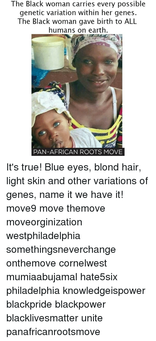 Memes, Philadelphia, and 🤖: The Black woman carries every possible  genetic variation within her genes.  The Black woman birth to ALL  humans on earth.  PAN-AFRICAN ROOTS MOVE It's true! Blue eyes, blond hair, light skin and other variations of genes, name it we have it! move9 move themove moveorginization westphiladelphia somethingsneverchange onthemove cornelwest mumiaabujamal hate5six philadelphia knowledgeispower blackpride blackpower blacklivesmatter unite panafricanrootsmove