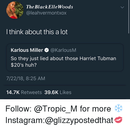 Harriet Tubman: The BlackElleWoods  @leahvermontxox  I think about this a lot  Karlous Miller @KarlousM  So they just lied about those Harriet Tubman  $20's huh?  7/22/18, 8:25 AM  14.7K Retweets 39.6K Likes Follow: @Tropic_M for more ❄️ Instagram:@glizzypostedthat💋