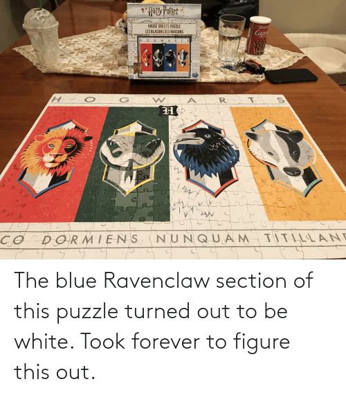 ravenclaw: The blue Ravenclaw section of this puzzle turned out to be white. Took forever to figure this out.