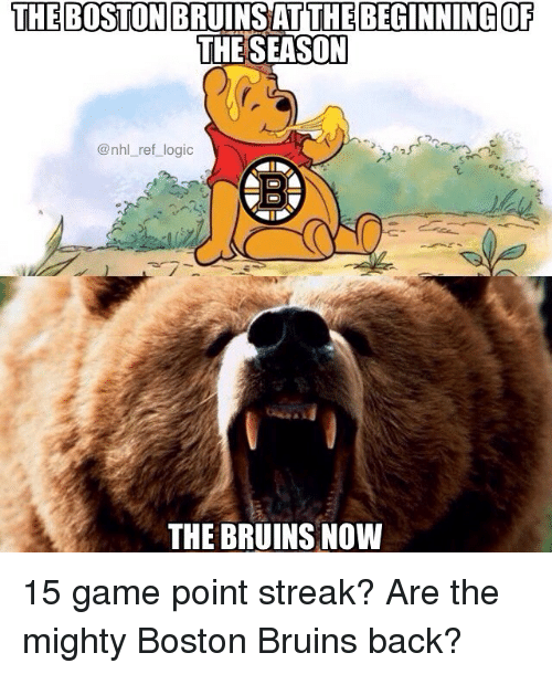 Logic, Memes, and National Hockey League (NHL): THE BOSTON BRUINSAT THE BEGINNING OF  THE SEASOT  @nhl_ref_logic  THE BRUINS NOW 15 game point streak? Are the mighty Boston Bruins back?