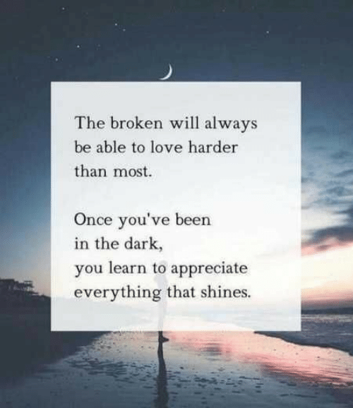 Shines: The broken will always  be able to love harder  than most  Once you've been  in the dark,  you learn to appreciate  everything that shines.