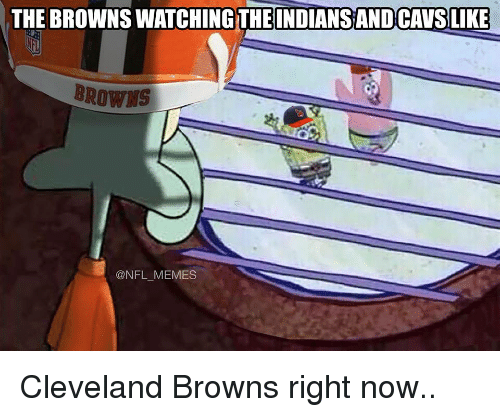 Cleveland Browns, Football, and Nfl: THE BROWNS WATCHING THE INDIANS AND CAVSLIKE  BROWNS  @NFL MEMES Cleveland Browns right now..