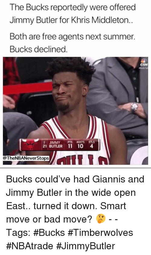 Khris Middleton: The Bucks reportedly were offered  Jimmy Butler for Khris Middleton..  Both are free agents next summer.  Bucks declined  CSN  F JIMMY PTS ASSTS STLS  21 BUTLER 11 10 4  @TheNBANeverStops Bucks could've had Giannis and Jimmy Butler in the wide open East.. turned it down. Smart move or bad move? 🤔 - - Tags: #Bucks #Timberwolves #NBAtrade #JimmyButler
