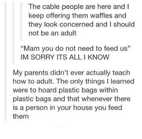 "adultism: The cable people are here and I  keep offering them waffles and  they look concerned and I should  not be an adult  ""Mam you do not need to feed us""  IM SORRY ITS ALL I KNOW  My parents didn't ever actually teach  how to adult. The only things I learned  were to hoard plastic bags within  plastic bags and that whenever there  is a person in your house you feed  them"