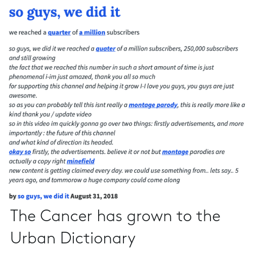 Cancer: The Cancer has grown to the Urban Dictionary