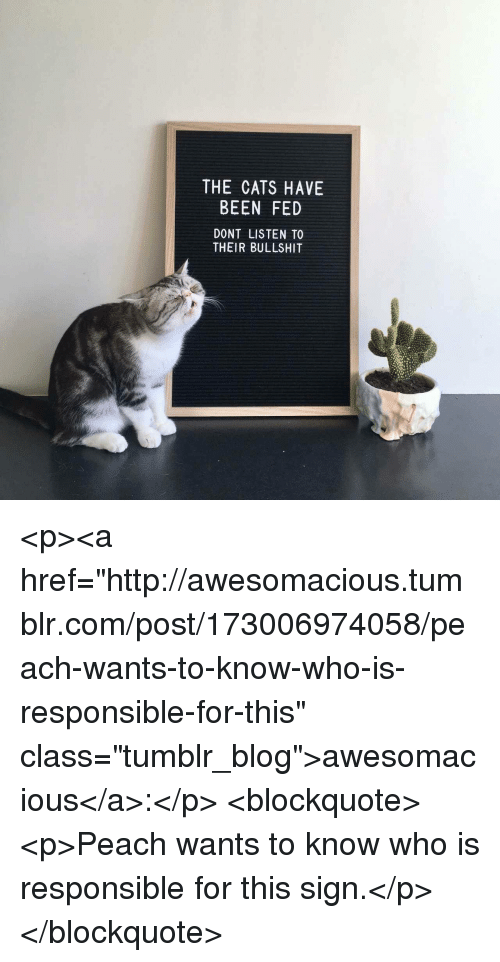 """Cats, Tumblr, and Blog: THE CATS HAVE  BEEN FED  DONT LISTEN TO  THEIR BULLSHIT <p><a href=""""http://awesomacious.tumblr.com/post/173006974058/peach-wants-to-know-who-is-responsible-for-this"""" class=""""tumblr_blog"""">awesomacious</a>:</p>  <blockquote><p>Peach wants to know who is responsible for this sign.</p></blockquote>"""