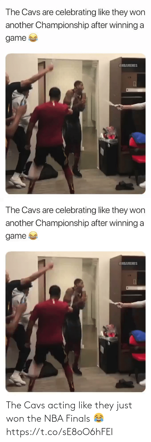 Nbamemes: The Cavs are celebrating like they won  another Championship after winning a  game  @NBAMEMES   The Cavs are celebrating like they won  another Championship after winning a  game  @NBAMEMES The Cavs acting like they just won the NBA Finals 😂 https://t.co/sE8oO6hFEI