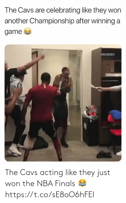 Nbamemes: The Cavs are celebrating like they won  another Championship after winning a  game  @NBAMEMES The Cavs acting like they just won the NBA Finals 😂 https://t.co/sE8oO6hFEI